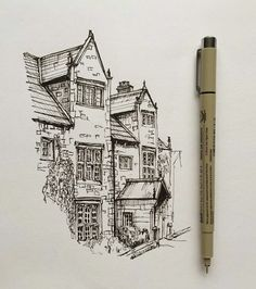 "3,860 Likes, 18 Comments - Phoebe Atkey (@phoebeatkey) on Instagram: ""#art #drawing #pen #sketch #illustration #architecture #house"""