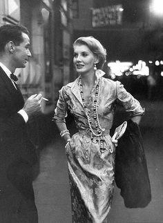 Silk brocade shirtwaist dress by Larry Aldrich, photo by Nina Leen, 1953