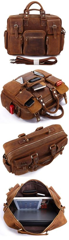 Vintage Leather Briefcase Handmade Genuine Dispatch Travel Bag #serbags #Christmasgift