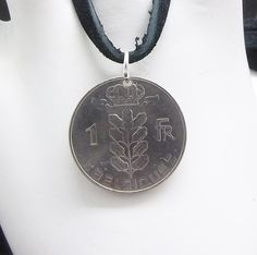 Belgium Coin Necklace 1 Franc Coin Pendant by AutumnWindsJewelry