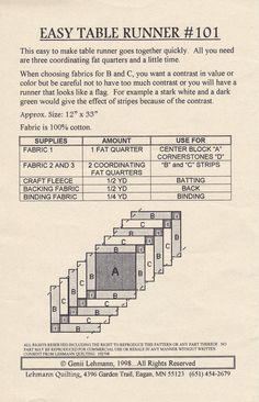 Easy Table Runner Quilt Pattern