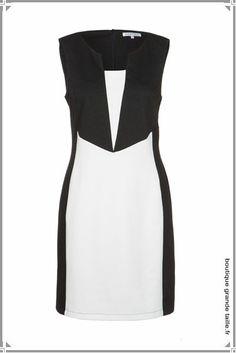 Robe bicolore du 38 au 52 forme fourreau, idéale en soirée ou pour une tenue chic de tous les jours. Superbe plastron noir.