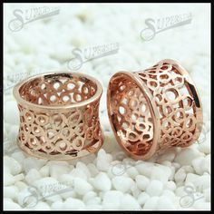 Rose gold double flared ear tunnel piercing  1.SGS tested  2.Factory price  3.Sample free  4.Different