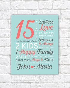 15th Anniversary Gift 15 Year Wedding Mom Dad Parties
