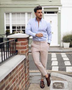 9e2ea41e4c2  rowanrow in a business casual combo with a light blue linen button up shirt  linen