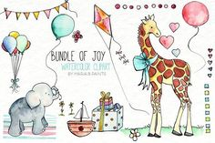 Watercolor Clip Art - Baby Shower by Maria B. Paints on @creativemarket