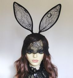 Black or white lace veiled bunny ears headband. by talulahblue, £40.00