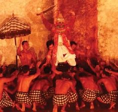 Kecak is the only dance that doesn't use the traditional music instruments when played. In fact, there are no musical instruments needed. The rhythm is provided by a chanting 'monkey' chorus by the dancers. The polyrhythmic sound of the chanting provides the name,'Ke-Chak' and that's where the name of the dance is coming from.