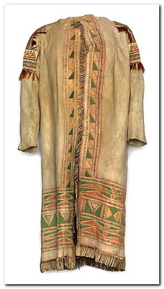 This coat, or toggie, made of heavy moose hide and decorated with fine porcupine quillwork and painted geometric designs would have been worn by a wealthy fur trader in the Canadian northwest around the 1850s. This is one of very few surviving coats of this type. It was probably made by a Cree woman living around York Factory on the edge of Hudson's Bay perhaps for her husband. He was almost certainly Scottish and a senior officer for the Hudson's Bay Company.