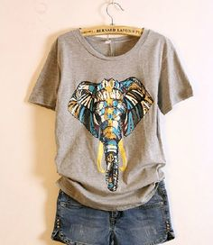 Elephant Print Tee- oh gooosh Love Fashion, Fashion Outfits, Womens Fashion, Fasion, Cardigan, Elephant Print, Printed Tees, My Wardrobe, Just In Case