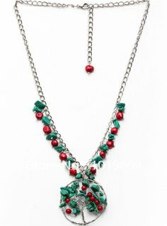 New Fashion Long Red Coral and Turquoise Life Tree  Necklace Pendant  Free Shipping