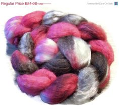 Christmas in July SW BFL Wool and Silk Roving - Hand Dyed Spinning - Fiber art - Rosebud and Chocolate
