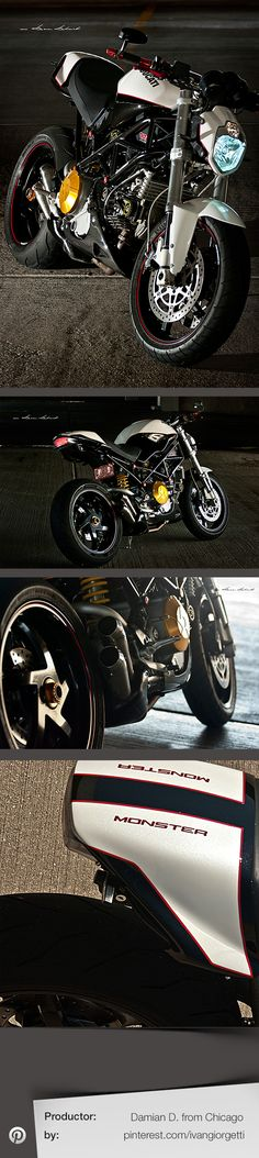 Ducati Monster by Damian D. from Chicago Ducati Motorcycles, Custom Motorcycles, Custom Bikes, Cars And Motorcycles, Moto Ducati, Ducati S4r, Motorcycle Design, Motorcycle Bike, Nine T Bmw