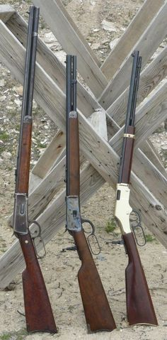 Winchester, Rossi and Henry - lever action cowboy rifles. Love the old cowboy guns Weapons Guns, Guns And Ammo, Henry Rifles, Cowboy Action Shooting, Lever Action Rifles, Firearms, Shotguns, Hunting Rifles, Cool Guns