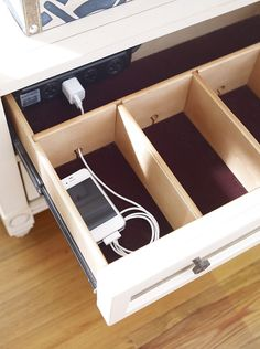 definitely have to have this in laundry mud room entrance for all alan's junk! cell phone charging station drawer by Art Van via Atticmag. also need storage drawer with plugs in bathroom for blowdryer, makeup mirror, etc
