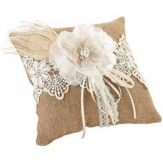 Lillian Rose Burlap and Lace Ring Bearer Pillow, Brown