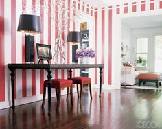 Striped Bedroom Ideas , Striped room decorating ideas are a means to change mood within the room, whether for modern interior design or house staging. Although black and whit. Red And White Wallpaper, Striped Wallpaper, Striped Room, Striped Walls, Yellow Walls, Elegant Home Decor, Elegant Homes, Elle Decor, Chic Wallpaper