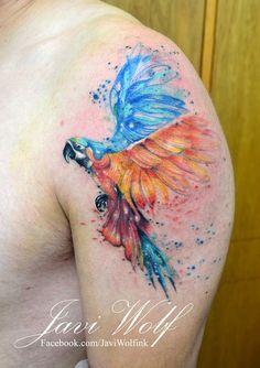Tattoo Ideen Frauen - Beautiful water color style Parrot Bird tattoo by Javi Wolf Tattoo Art. Wolf Tattoos, Elephant Tattoos, Animal Tattoos, Tatoos, Flower Tattoo On Side, Flower Tattoos, Bird Tattoos, Javi Wolf, Parrot Tattoo