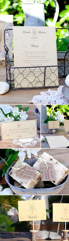 Papeleria de boda para una boda rustic chic: azulsahara- Minutas