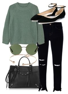 """""""Untitled #4433"""" by olivia-mr ❤ liked on Polyvore featuring J Brand, MANGO, Jimmy Choo, Ray-Ban, Balenciaga and River Island"""