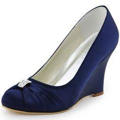 ElegantPark EP2005 Women's Evening Party Round Toe Wedge Heel Satin Rhinestones Wedding Bridal Shoes Navy Blue US 8