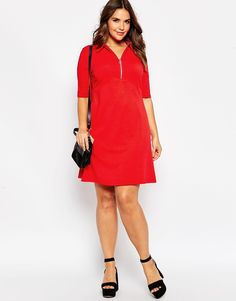 Image 4 of ASOS CURVE Polo Skater Dress With Collar & Zip