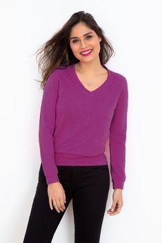 Supersoft V in Dahlia Fleece Fabric, V Neck, Colour, Sweaters, Dahlia, Mars, Women, Red, Fashion