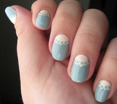 Pretty lace fingernails to go with a pretty lace dress. :3