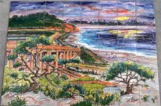 Custom hand painted tile kitchen back splash mural of Torrey Pines state Park, CA