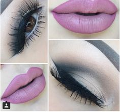 Smokey neutral with a pink lip