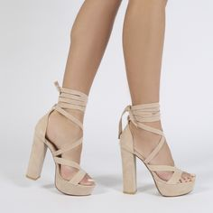 $44.99 Stella Lace Up Heels in Nude Faux Suede