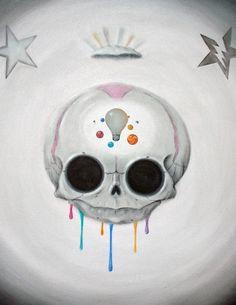 Sugar Fueled Skull Skeleton Rainbow Paint Splash by Sugarfueledart