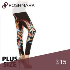 New Women's Curve & Super Soft Print Legging Plus Size super soft printed legging,high waist leggings in a fitted style, with an elastic waistband. 92%Polyester,8% Spandex. I ship 3/5 business day.💮FITS TRUE TO SIZE 💮PRICE FIRM 💮BUNDLE&SAVE Pants Leggings