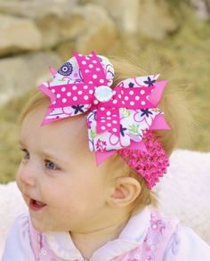 hair bow for baby...boutique ribbon hairbow Clip...infant bow hair band..pretty Pink hair bow...newborn, toddler and girls, baby hairbow via Etsy