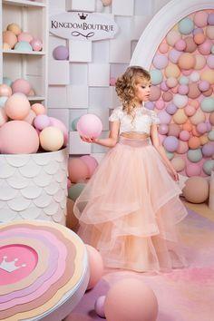 Marfil y Blush rosa niña vestido de flores por KingdomBoutiqueUA