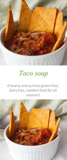 A low-calorie, gluten and dairy-free hearty taco soup that is healthy comfort food.
