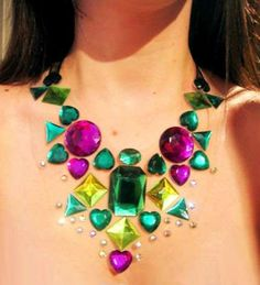 Floating Gem Necklaces: Oversized Bejeweled Bib Necklaces Add Sparkle Without Weight