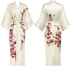 Etsy, ShanghaiKay White Cherry Blossom / 100% SILK KIMONO ROBE Floral Handpainted Night Gown Bathrobe Long