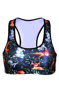 Womens Wireless Comfort Rabbit and Deer Printed Sports Crop Top Blue Tops  Courts 7ea88214481