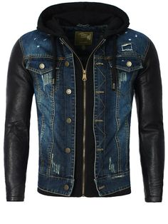 Y&R Men Stylish Distressed Denim Hoodie Jacket Faux Leather Sleeves - Blue