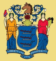 Close up of New Jersey state flag
