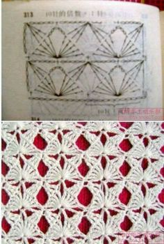 Another crochet stitch pattern, diagram providedThis would make a nice fancy-shmancy scarf.LOVE this Crochet Stitch: Butterflies! Multiples of or 11 if in the round. Chart is included in this image.Crochet stitches to learn Mais MaisTina's handicraft Crochet Motifs, Crochet Diagram, Crochet Stitches Patterns, Crochet Chart, Love Crochet, Beautiful Crochet, Knitting Stitches, Crochet Designs, Crochet Doilies