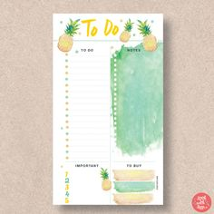 Use this fantastic pineapple to do list planner to keep you on track. It fits Personal size planners. Download the PDF planner printable and make a start on your list today. Find more in this range at http://www.etsy.com/shop/stickwithsam | To Do List Printable | To Do List Organization | To Do List Daily | To Do List Weekly | To Do List Work | To Do List Printable Daily | To Do List Printable Weekly | Printable Planner | Printables