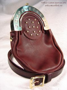 Custom Hinged Brass Cantle Sporran with a Buttery-soft Oxblood Leather Bag and Studded Targe. Matching Sporran Strap.