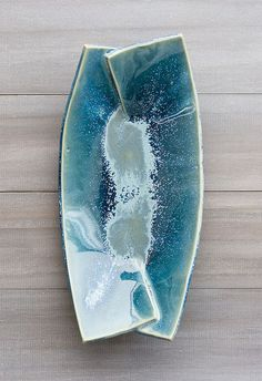 Love the floating glazes and how they work to transition the joint on the piece. Beautiful slab work! #Pottery #Art