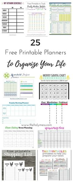 Use these 25 free pr Use these 25 free printable planners to organize your life for budgeting clean eating household tasks parenting fitness and more.