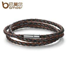 BAMOER Cheap Wholesale Fashion Men Leather Bracelet 100% Brand New Trendy Bracelets with Magnet Clasp PI0063-5 #Affiliate