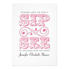 Sip & See Baby Girl Shower Invitations