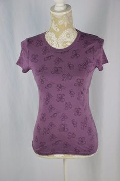 Old Navy Womens Small Purple Flower Print Crewneck Short Sleeve Shirt Fitted #OldNavy #KnitTop #Casual