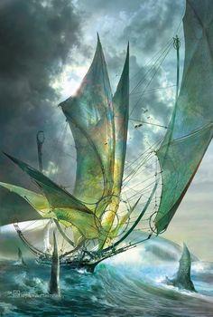 digital art of Stephan Martiniere. Elven waveskimmer